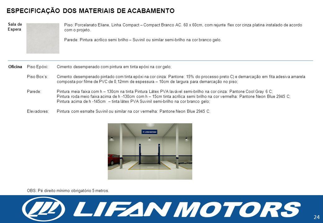 ESPECIFICAÇÃO DOS MATERIAIS DE ACABAMENTO