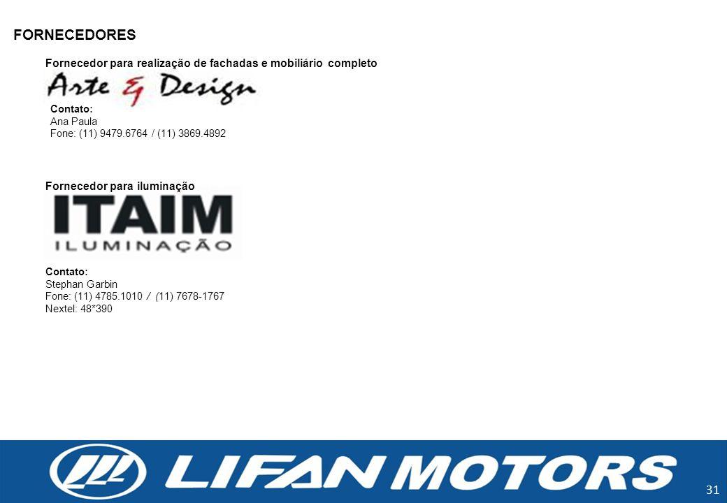 FORNECEDORES Fornecedor para realização de fachadas e mobiliário completo. Contato: Ana Paula
