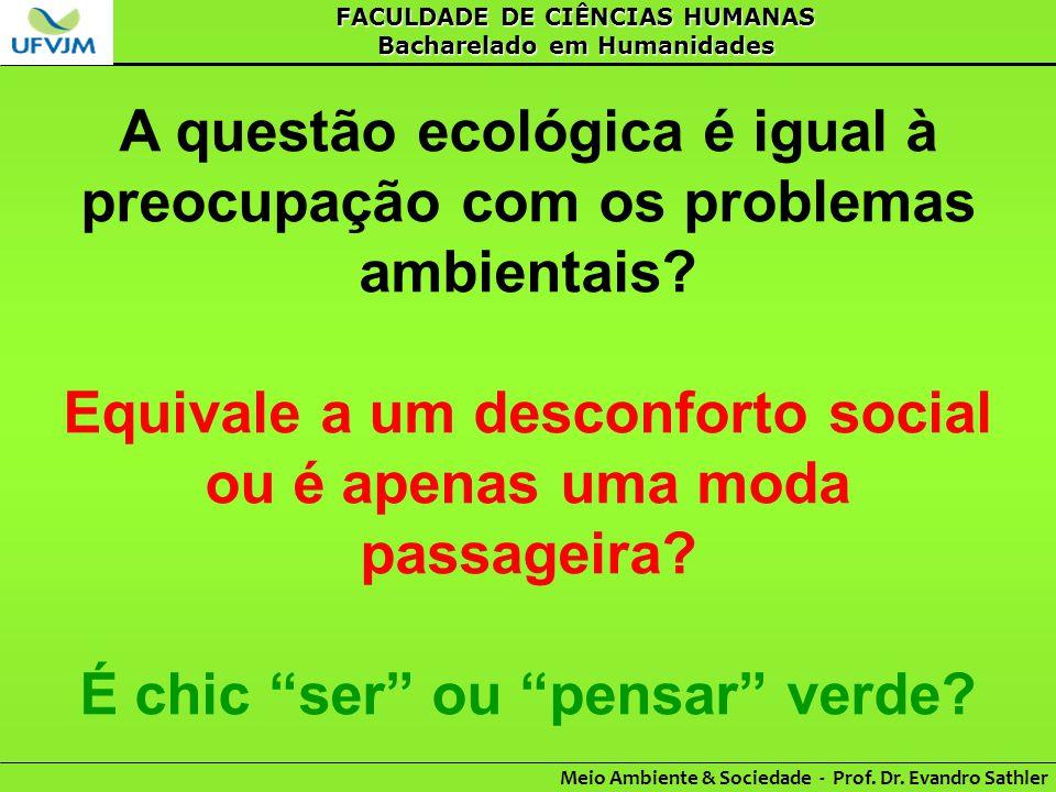 A questão ecológica é igual à preocupação com os problemas ambientais