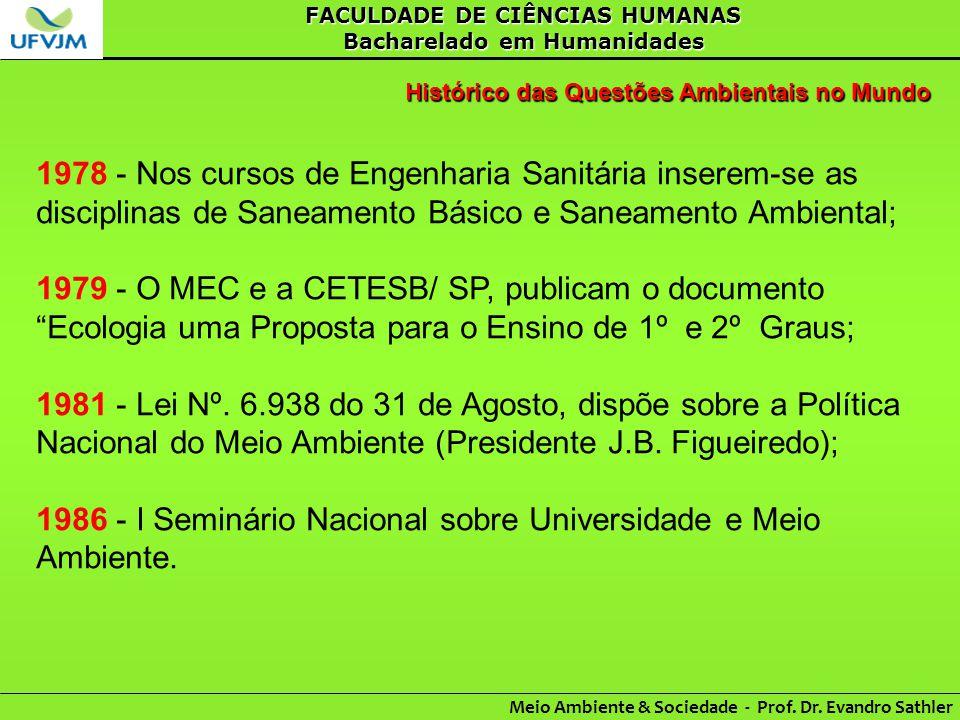 1986 - I Seminário Nacional sobre Universidade e Meio Ambiente.