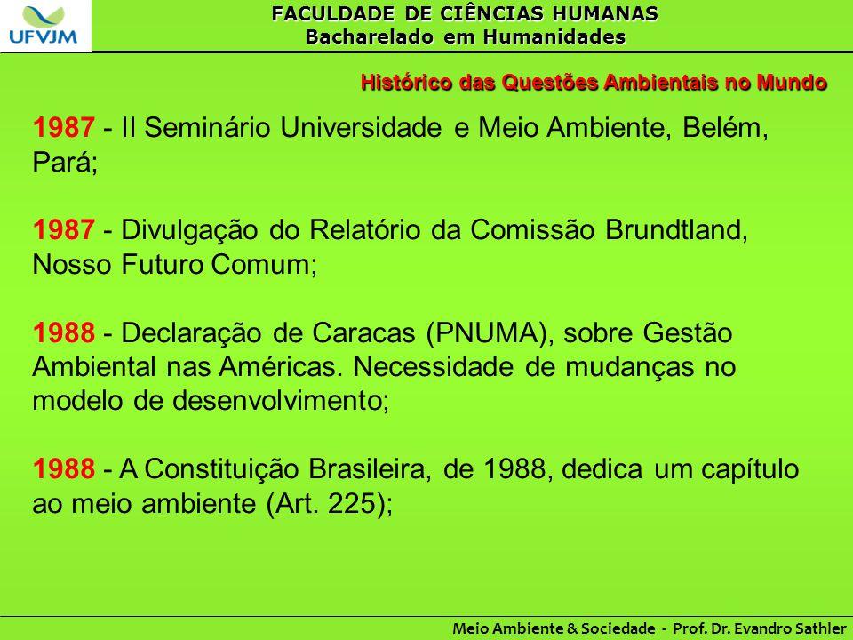 1987 - II Seminário Universidade e Meio Ambiente, Belém, Pará;