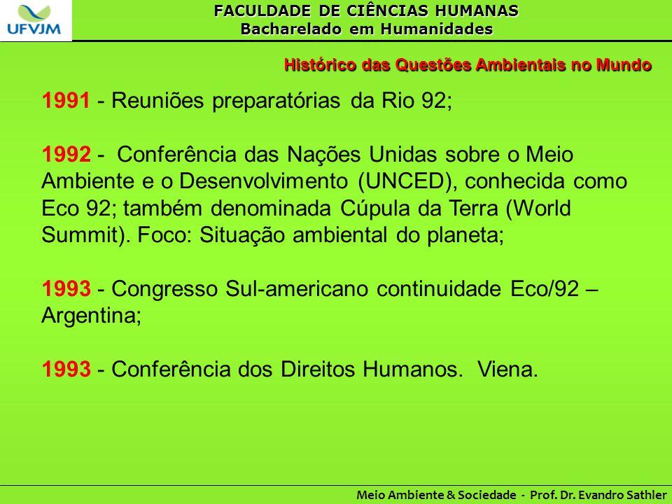 1991 - Reuniões preparatórias da Rio 92;