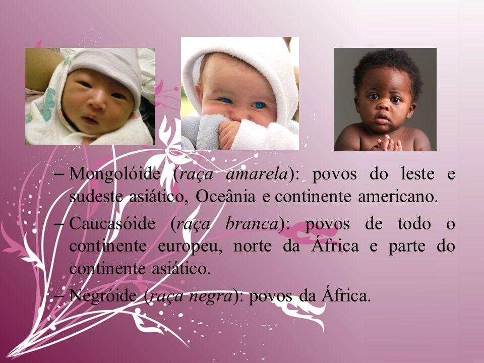 Mongolóide (raça amarela): povos do leste e sudeste asiático, Oceânia e continente americano.