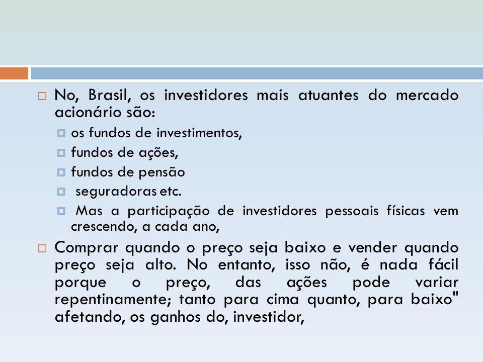 No, Brasil, os investidores mais atuantes do mercado acionário são: