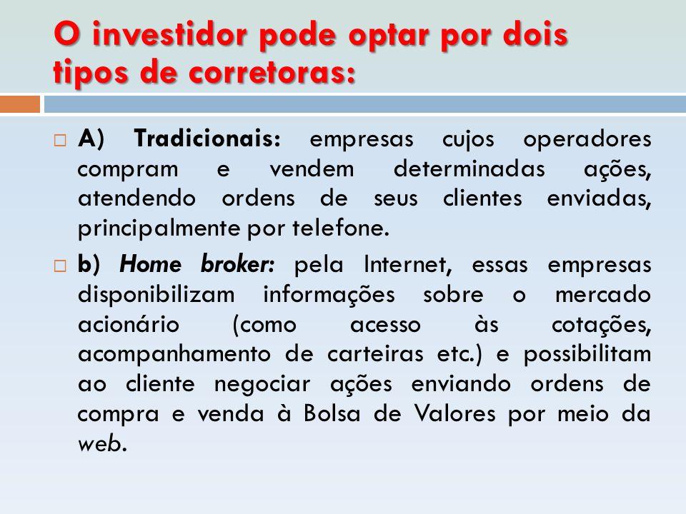 O investidor pode optar por dois tipos de corretoras: