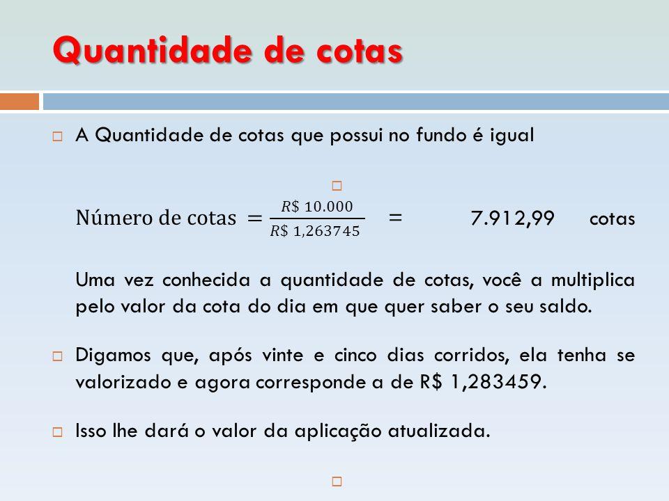 Quantidade de cotas A Quantidade de cotas que possui no fundo é igual