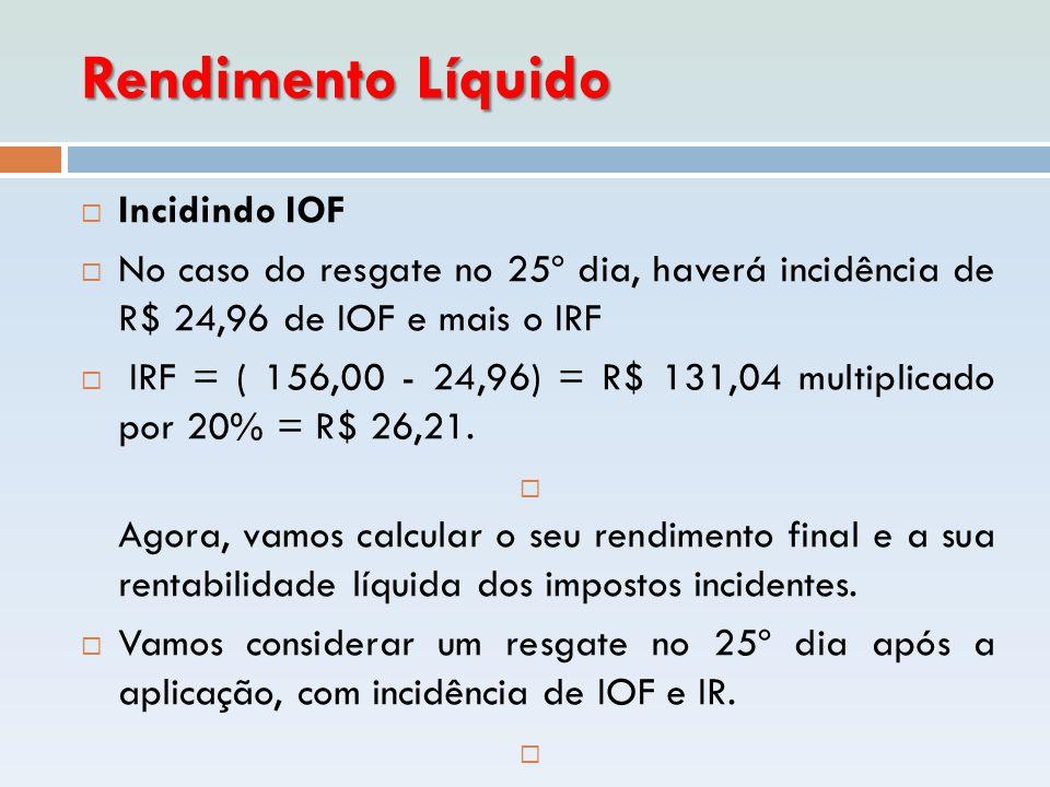 Rendimento Líquido Incidindo IOF