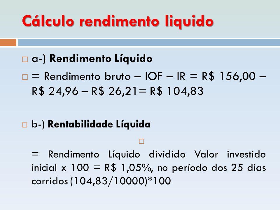 Cálculo rendimento liquido