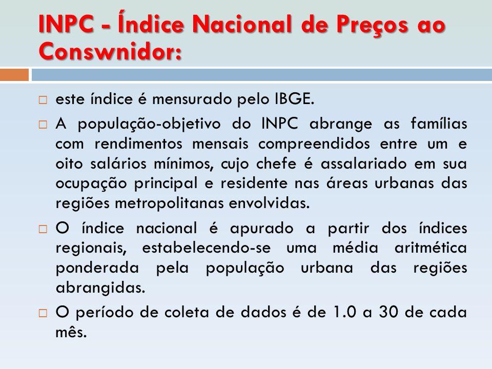 INPC - Índice Nacional de Preços ao Conswnidor:
