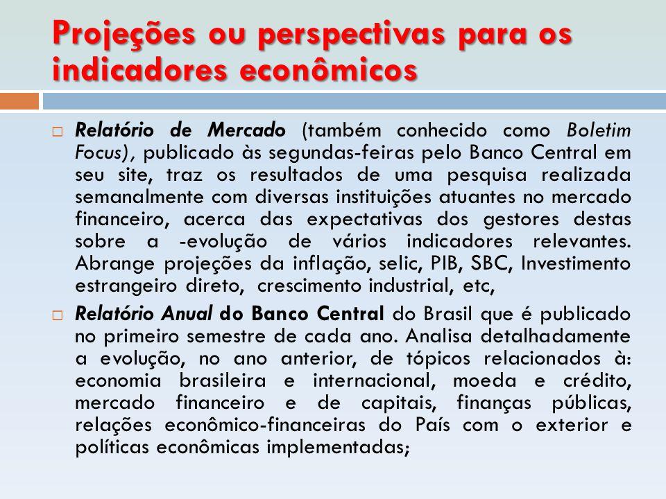Projeções ou perspectivas para os indicadores econômicos