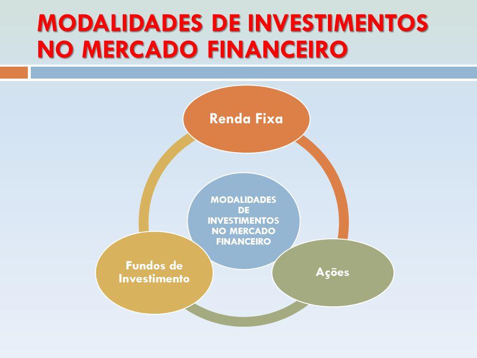 MODALIDADES DE INVESTIMENTOS NO MERCADO FINANCEIRO