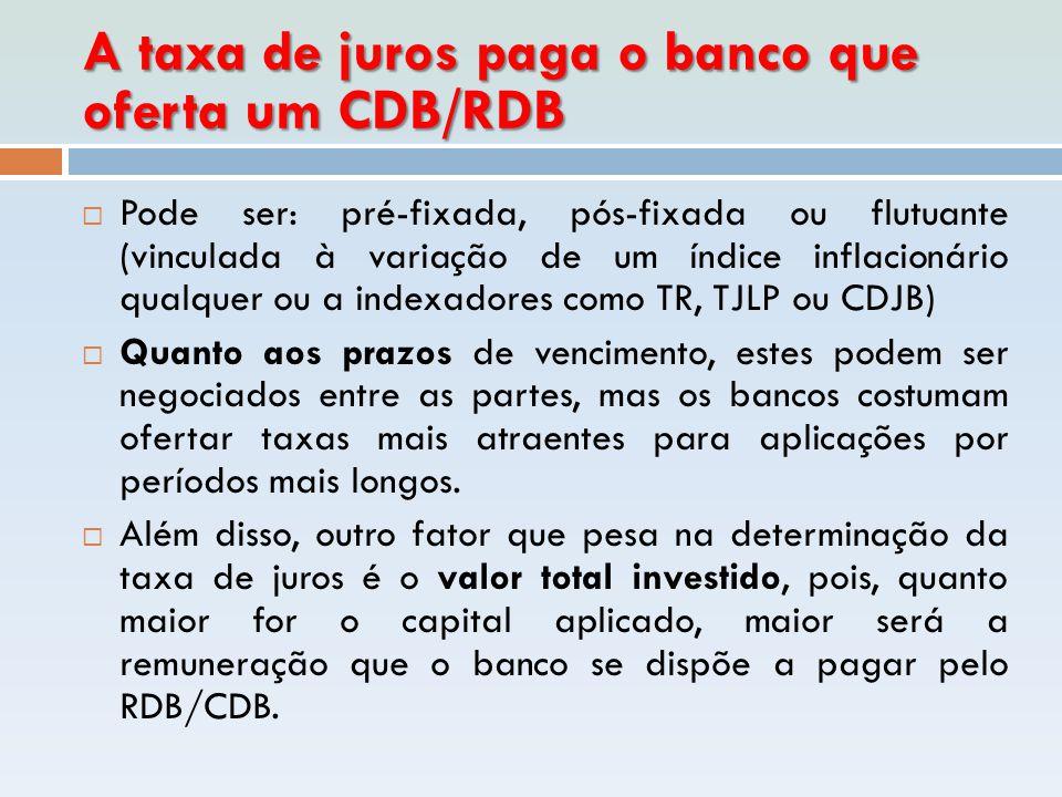A taxa de juros paga o banco que oferta um CDB/RDB