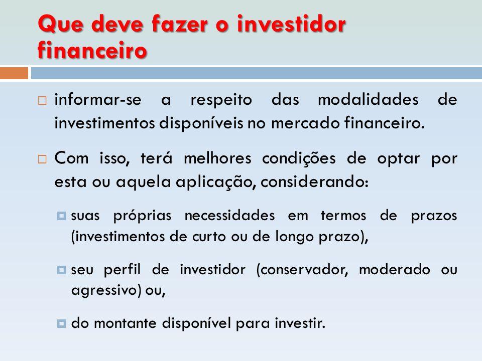 Que deve fazer o investidor financeiro