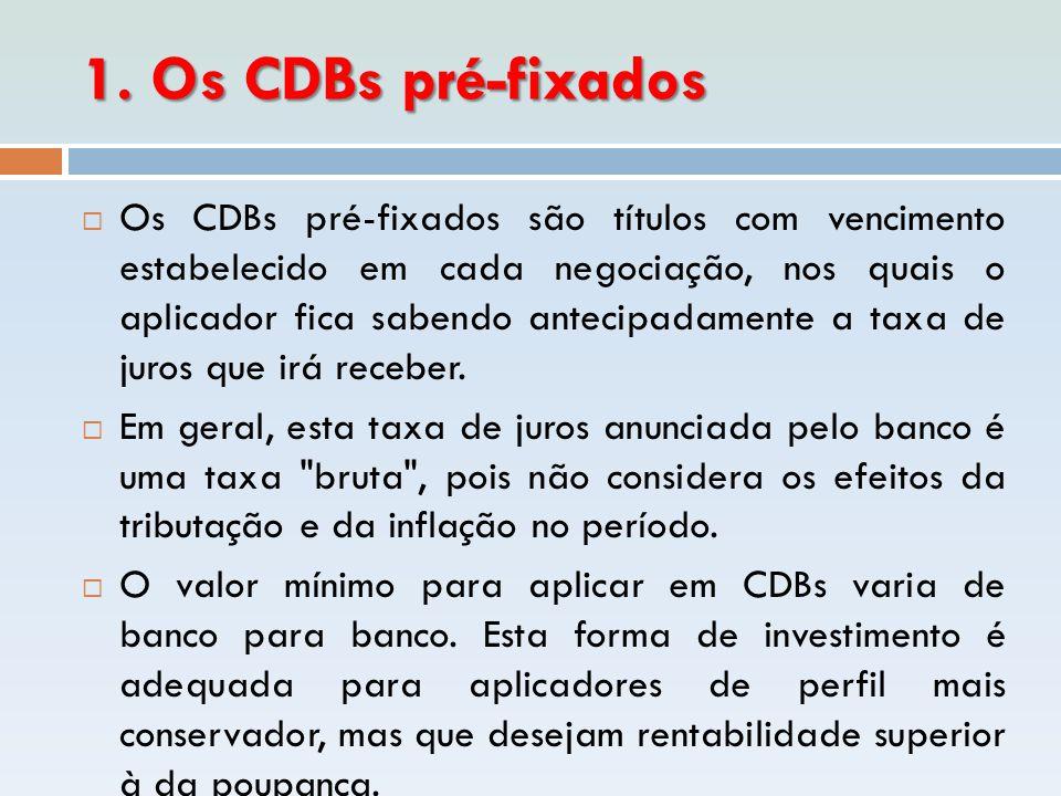 1. Os CDBs pré-fixados