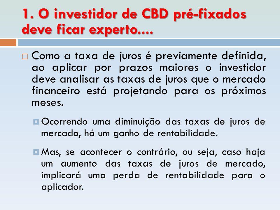 1. O investidor de CBD pré-fixados deve ficar experto....