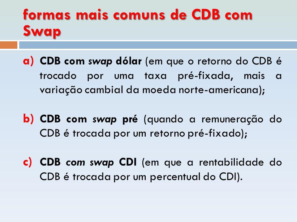 formas mais comuns de CDB com Swap