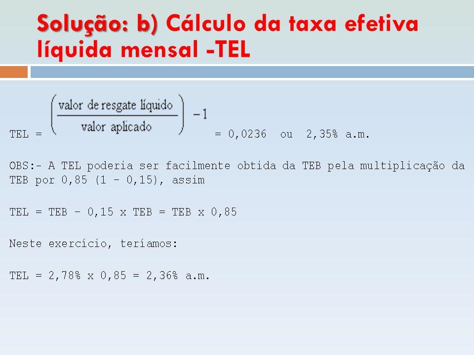 Solução: b) Cálculo da taxa efetiva líquida mensal -TEL