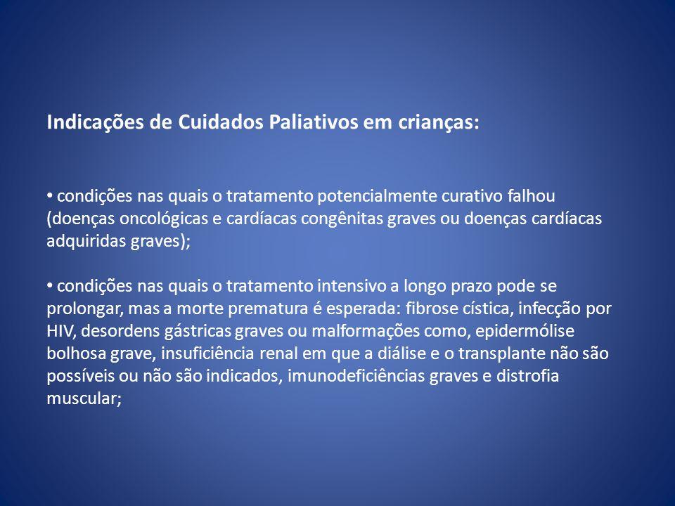 Indicações de Cuidados Paliativos em crianças: