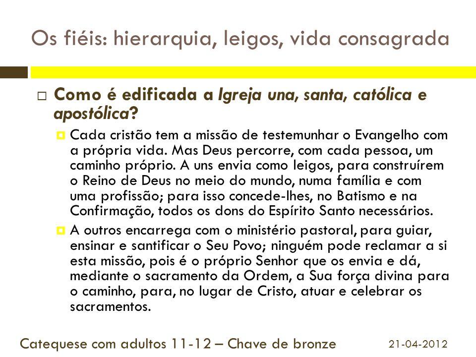 Os fiéis: hierarquia, leigos, vida consagrada