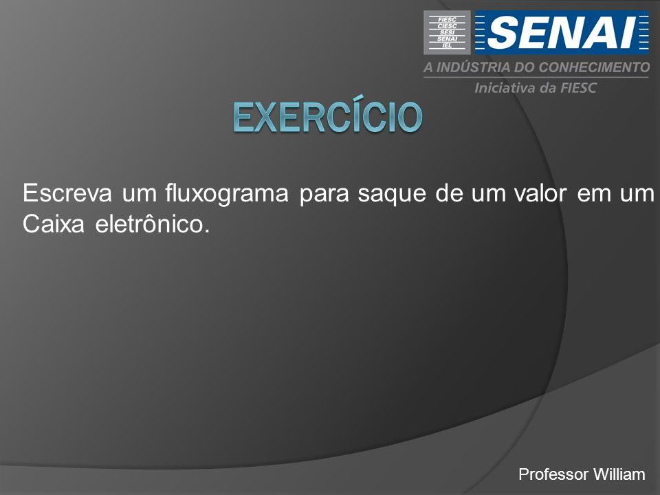 exercício Escreva um fluxograma para saque de um valor em um