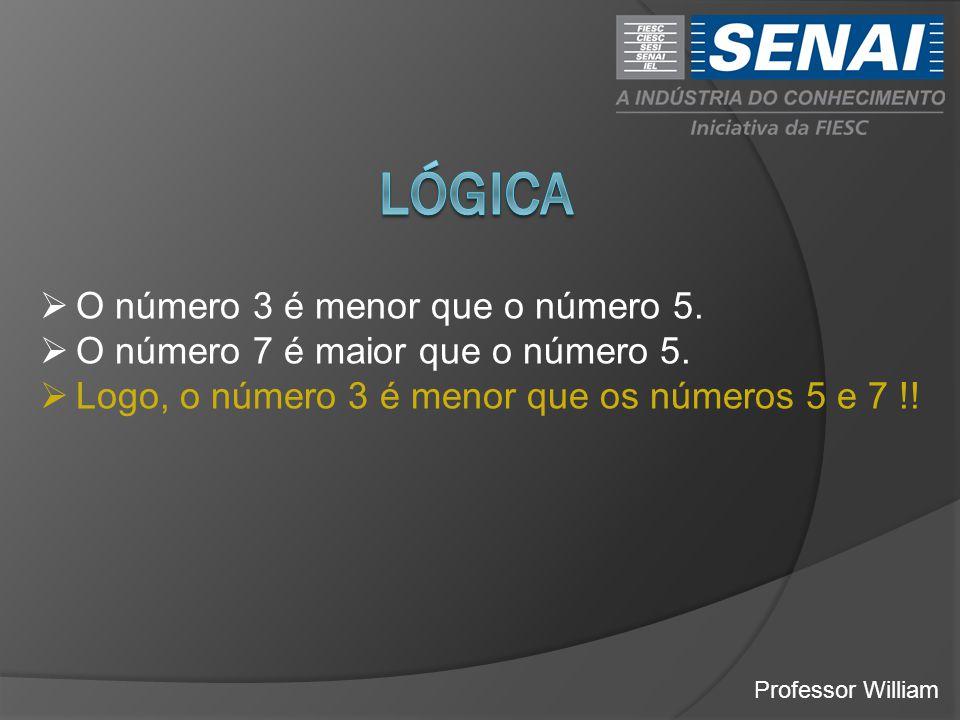 lógica O número 3 é menor que o número 5.
