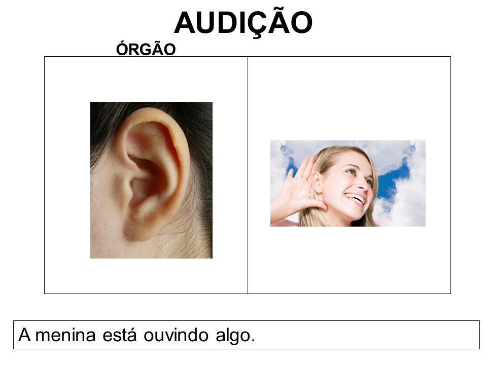 AUDIÇÃO ÓRGÃO A menina está ouvindo algo.