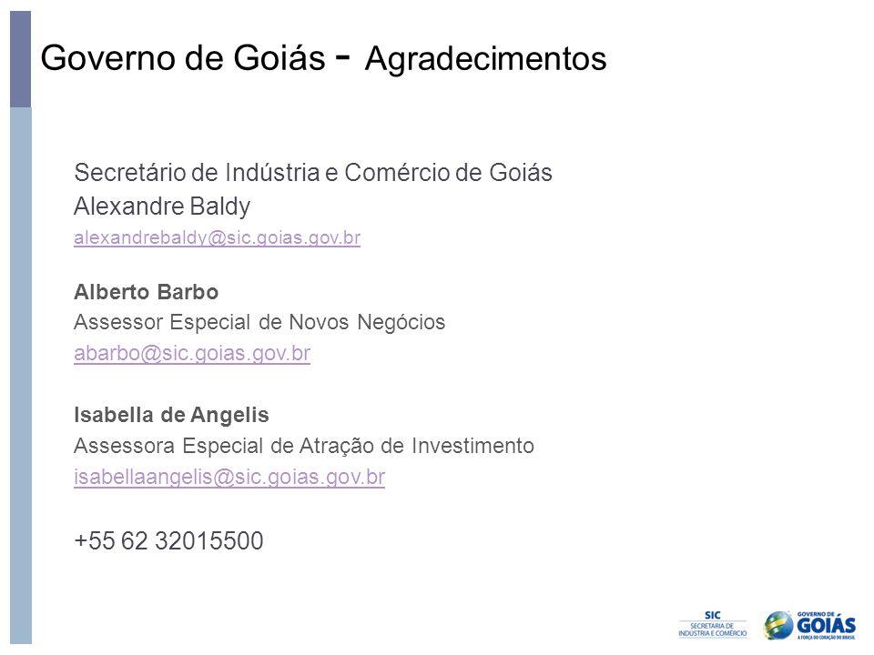 Governo de Goiás - Agradecimentos