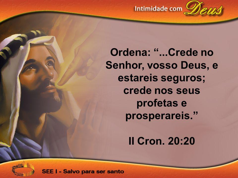 Ordena: ...Crede no Senhor, vosso Deus, e estareis seguros; crede nos seus profetas e prosperareis.