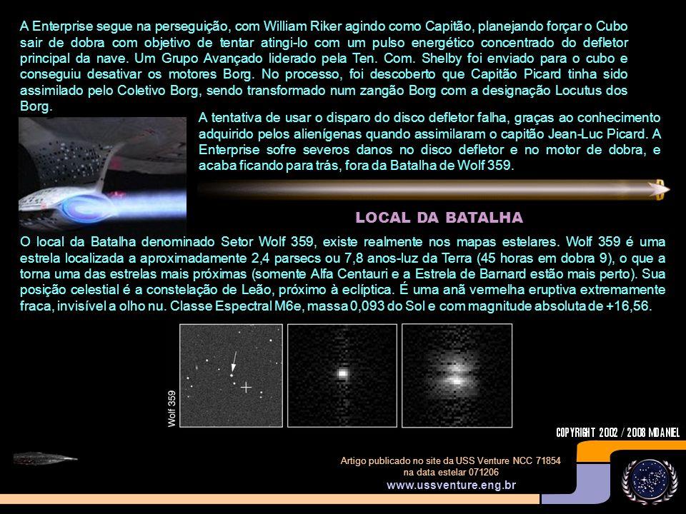 A Enterprise segue na perseguição, com William Riker agindo como Capitão, planejando forçar o Cubo sair de dobra com objetivo de tentar atingi-lo com um pulso energético concentrado do defletor principal da nave. Um Grupo Avançado liderado pela Ten. Com. Shelby foi enviado para o cubo e conseguiu desativar os motores Borg. No processo, foi descoberto que Capitão Picard tinha sido assimilado pelo Coletivo Borg, sendo transformado num zangão Borg com a designação Locutus dos Borg.