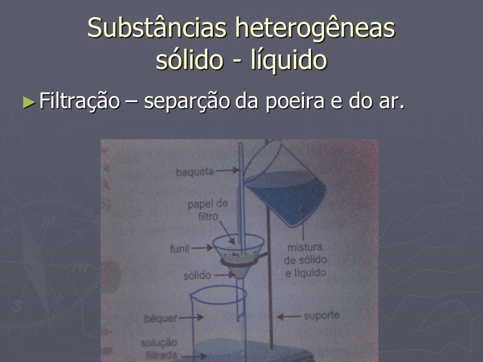 Substâncias heterogêneas sólido - líquido