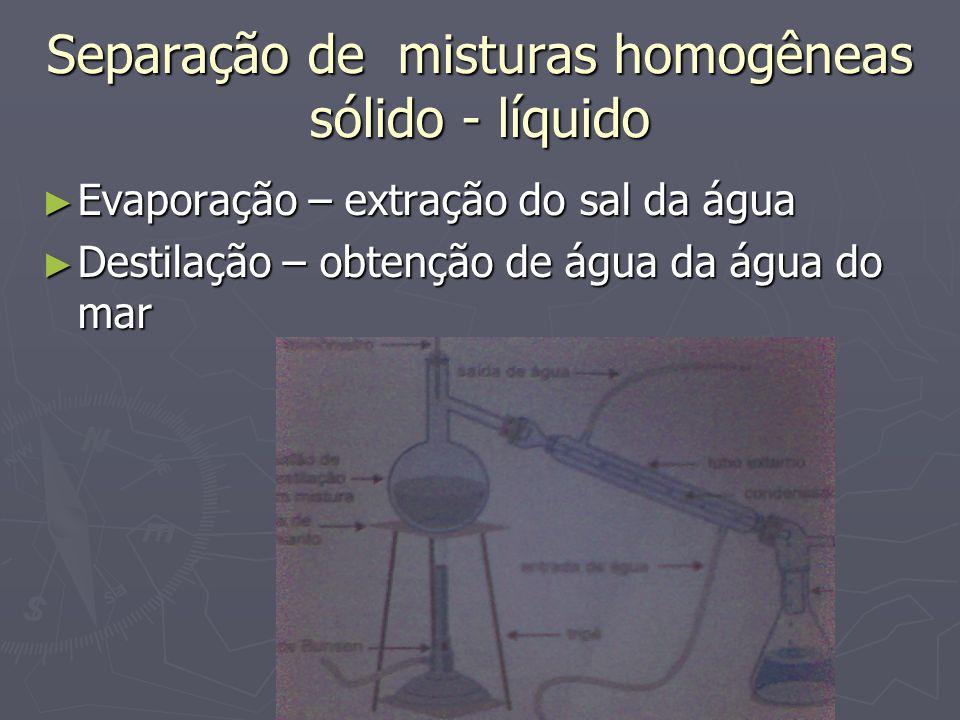 Separação de misturas homogêneas sólido - líquido