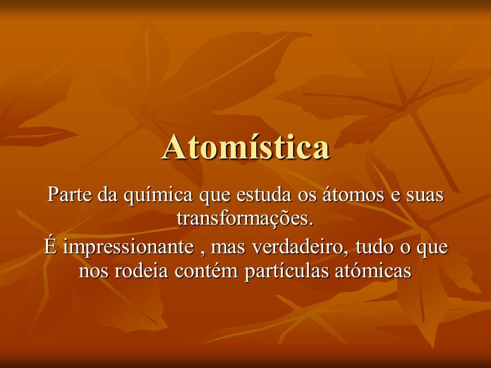 Parte da química que estuda os átomos e suas transformações.