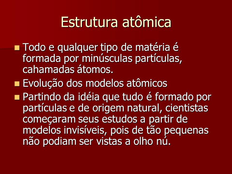 Estrutura atômica Todo e qualquer tipo de matéria é formada por minúsculas partículas, cahamadas átomos.
