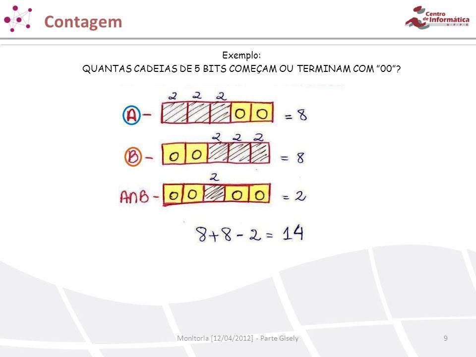 Contagem Exemplo: QUANTAS CADEIAS DE 5 BITS COMEÇAM OU TERMINAM COM 00 .