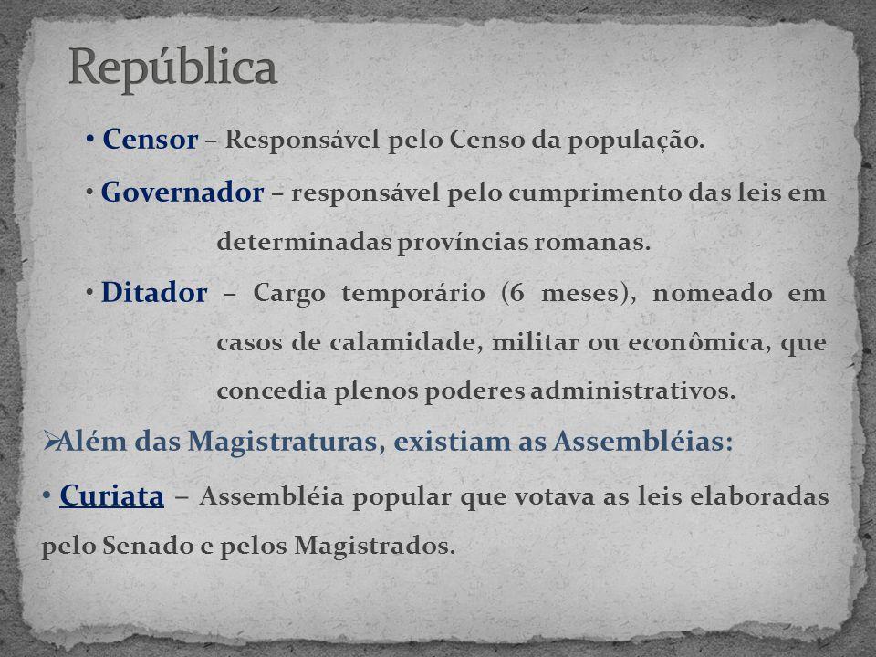 República Censor – Responsável pelo Censo da população. Governador – responsável pelo cumprimento das leis em determinadas províncias romanas.