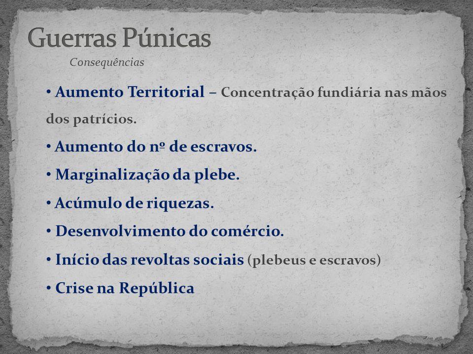 Guerras Púnicas Consequências. Aumento Territorial – Concentração fundiária nas mãos dos patrícios.