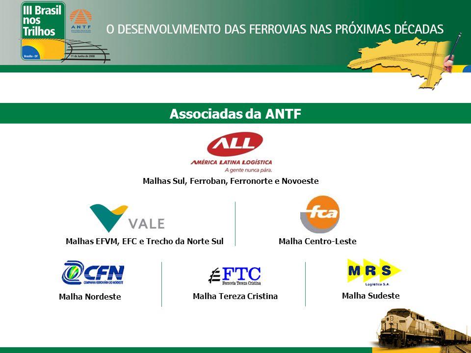 Associadas da ANTF Malhas Sul, Ferroban, Ferronorte e Novoeste