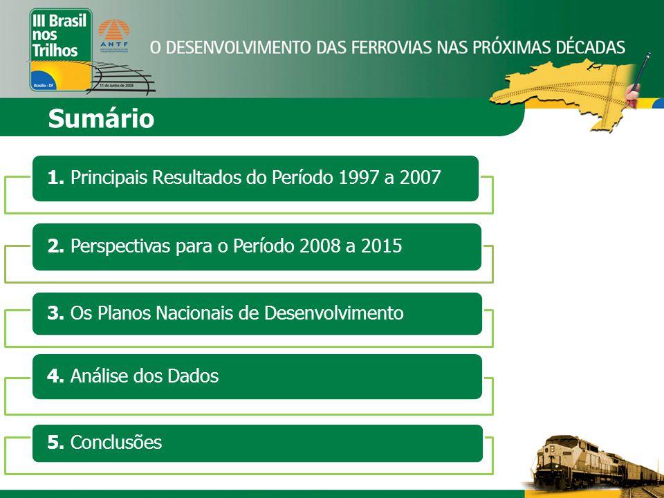 Sumário 1. Principais Resultados do Período 1997 a 2007