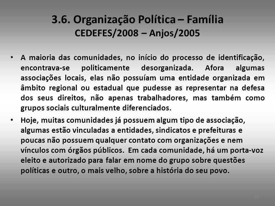 3.6. Organização Política – Família CEDEFES/2008 – Anjos/2005