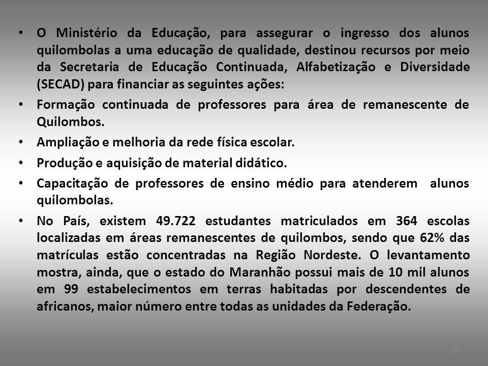 O Ministério da Educação, para assegurar o ingresso dos alunos quilombolas a uma educação de qualidade, destinou recursos por meio da Secretaria de Educação Continuada, Alfabetização e Diversidade (SECAD) para financiar as seguintes ações: