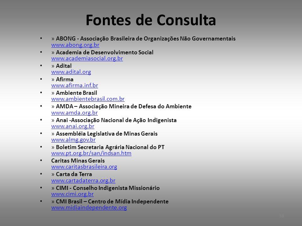 Fontes de Consulta » ABONG - Associação Brasileira de Organizações Não Governamentais www.abong.org.br.