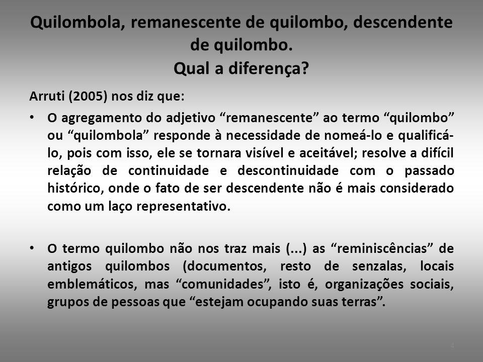 Quilombola, remanescente de quilombo, descendente de quilombo