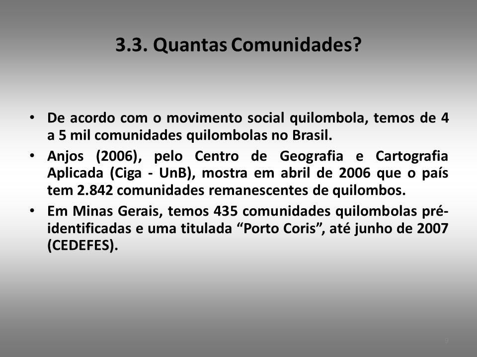 3.3. Quantas Comunidades De acordo com o movimento social quilombola, temos de 4 a 5 mil comunidades quilombolas no Brasil.