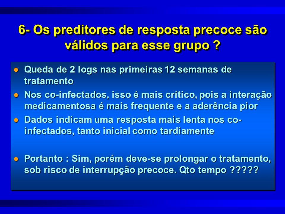 6- Os preditores de resposta precoce são válidos para esse grupo