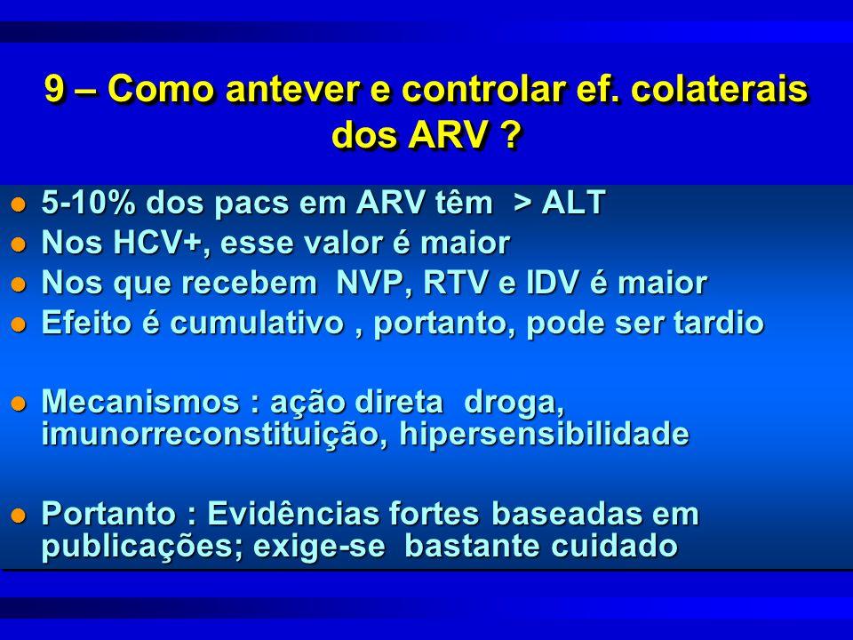 9 – Como antever e controlar ef. colaterais dos ARV