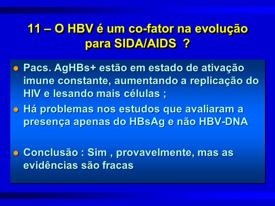 11 – O HBV é um co-fator na evolução para SIDA/AIDS