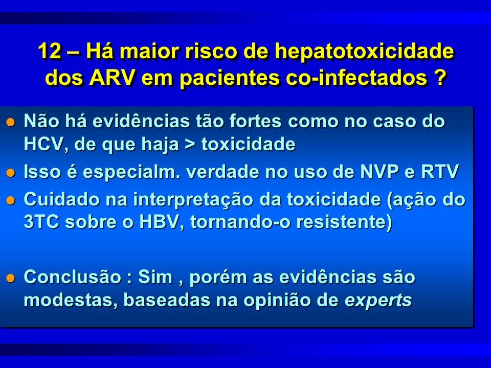 12 – Há maior risco de hepatotoxicidade dos ARV em pacientes co-infectados