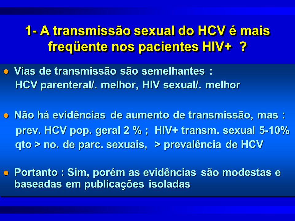 1- A transmissão sexual do HCV é mais freqüente nos pacientes HIV+