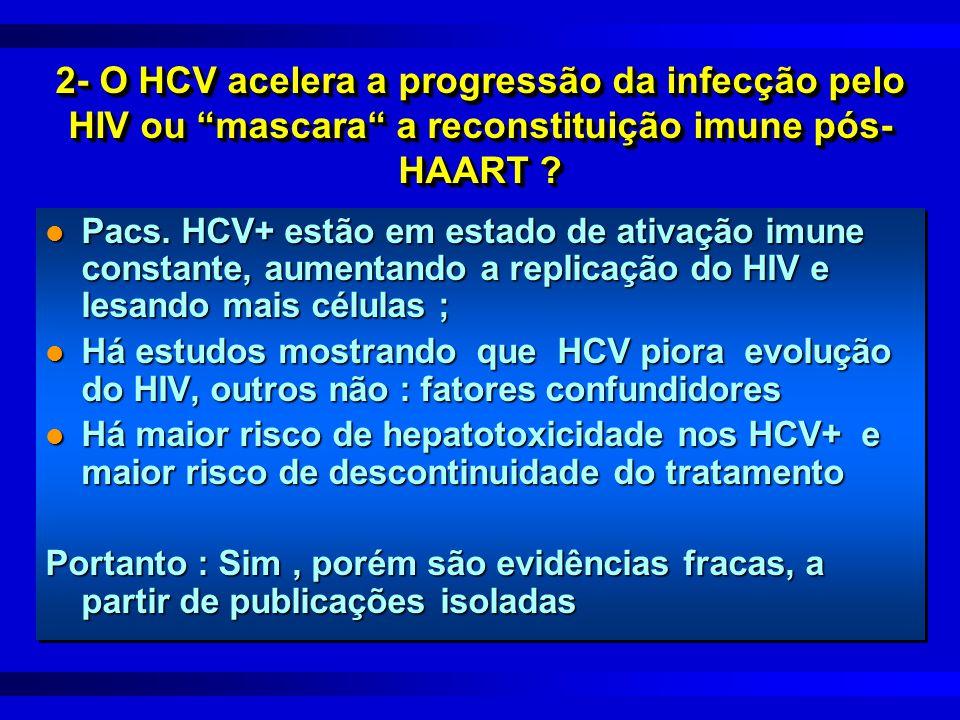 2- O HCV acelera a progressão da infecção pelo HIV ou mascara a reconstituição imune pós-HAART