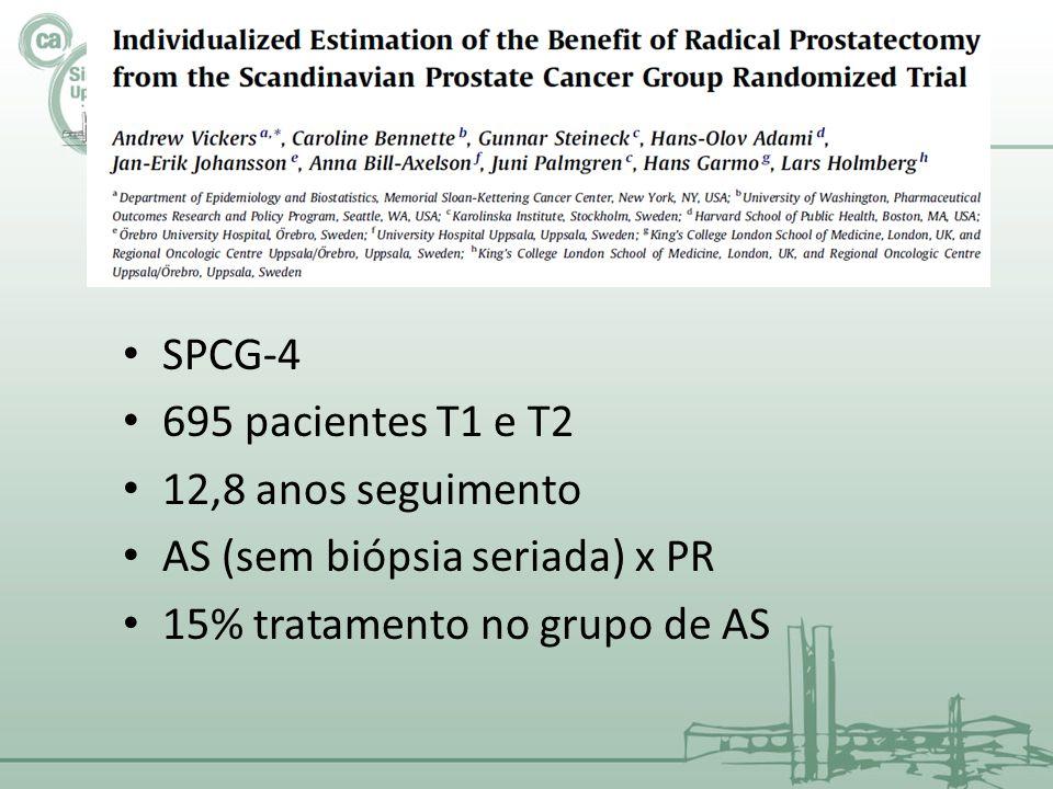 SPCG-4 695 pacientes T1 e T2. 12,8 anos seguimento.